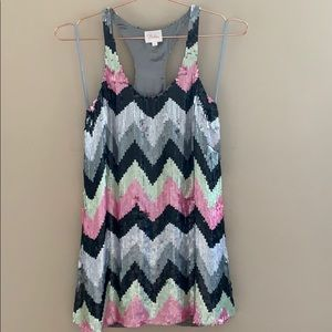 Parker Dresses - Parker zig zag mini sequin dress sz XS pink black